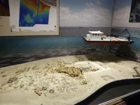 Model of the excavation site of Blackbeard's sunken ship.