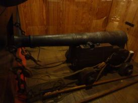 A real canon recovered from Blackbeard's ship.